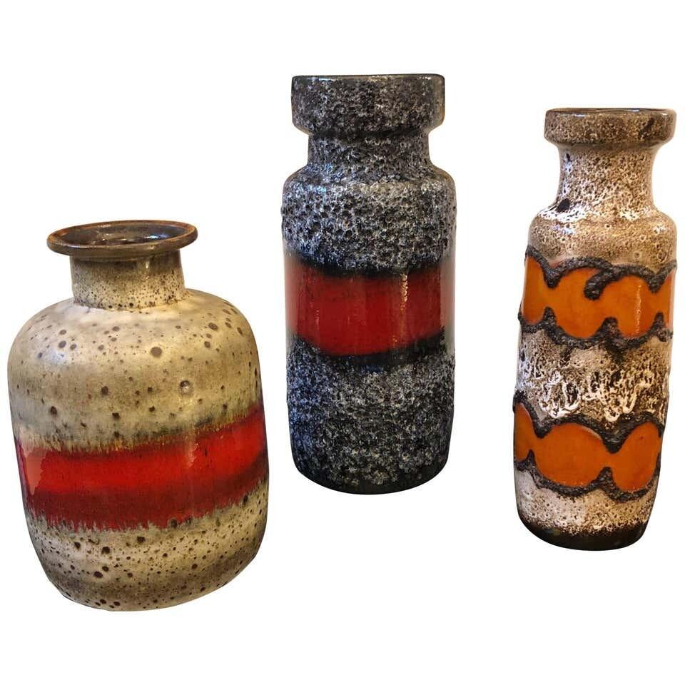 Set of Three Lava Keramik German Vases, circa 1960