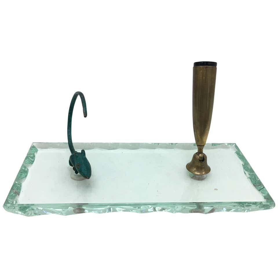 Mid-Century Modern Verde Nilo Glass Pen Holder