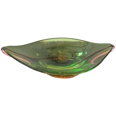 Seguso Attributed Mid-Century Modern Italian Green Murano Glass Centerpiece 1970