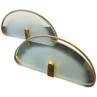 Set of Two Mid-Century Modern Brass and Glass Italian Wall Sconces, circa 1975