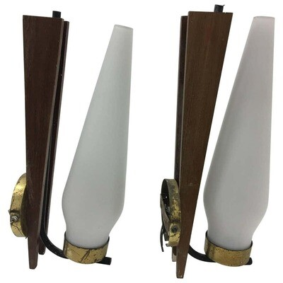 Two Stilnovo style Mid-Century Modern Italian Teak and Brass Wall Sconces 1950