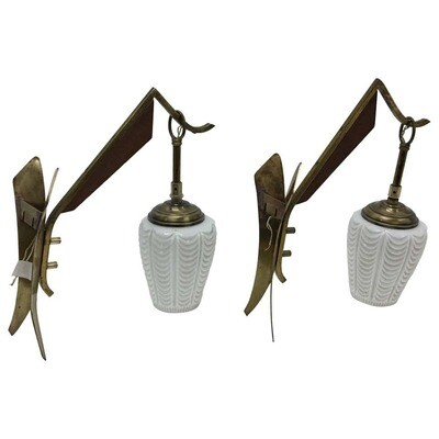 Two Mid-Century Modern Italian Teak, Brass and White Glass Wall Sconces 1950