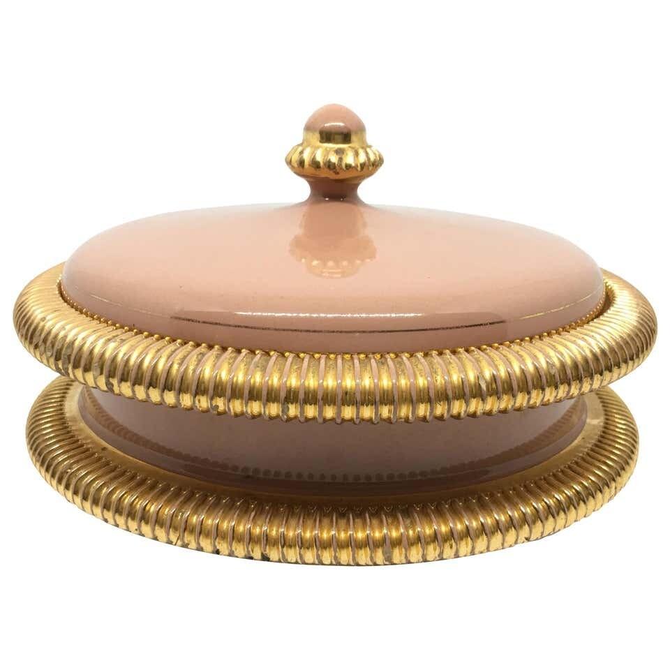 Italo Casini Mid-Century Modern Italian Pink and Gold Ceramic Box 1950