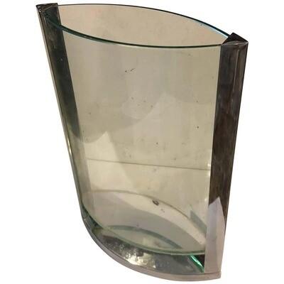 Modernist Italian Steel and Glass Vase circa 1970