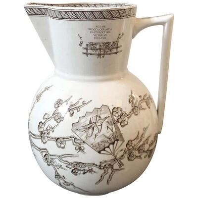Davenport Aesthetic Style Victorian British Brown Ceramic Jug, circa 1880