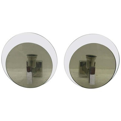 Two Space Age Italian steel and glass Wall Sconces, Lupi Cristal Luxor 1960