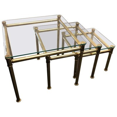 Mid-Century Modern Brass and Glass Italian Nesting Tables, circa 1960