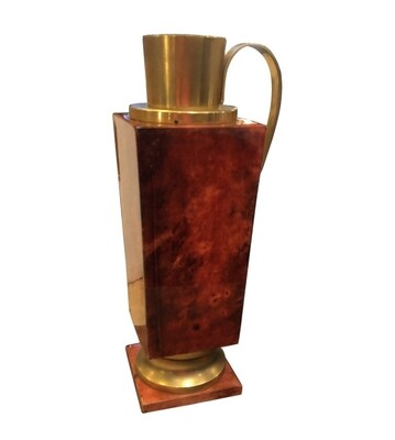 Aldo Tura Mid-Century Modern Red Goatskin and Brass Thermos Carafe, circa 1960