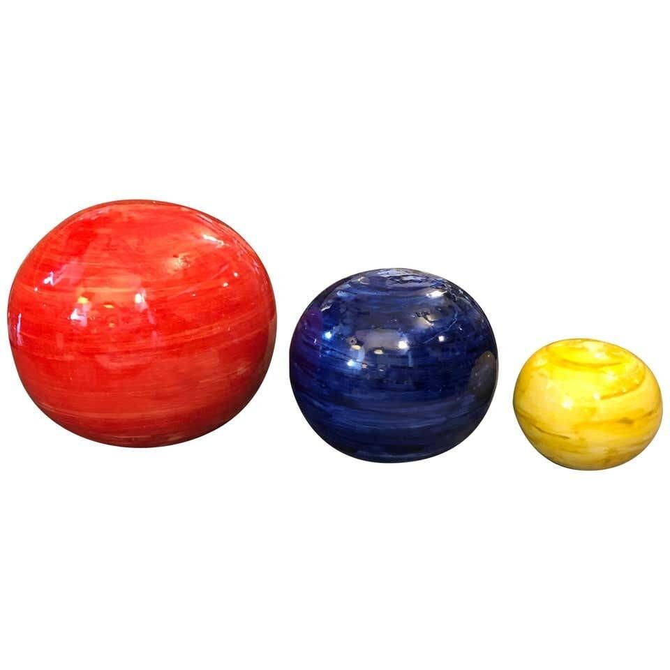Set of Three Unique Pieces Hand Painted Sicilian Terracotta Decorative Spheres