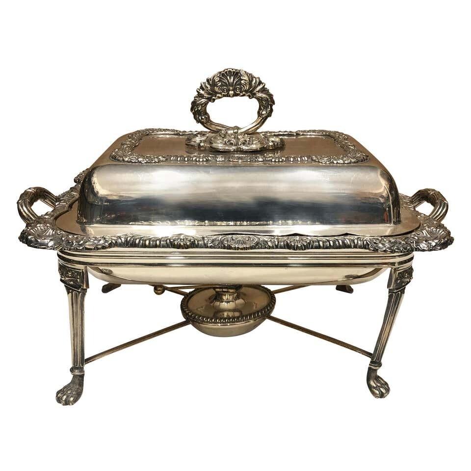 Finnigans Ltd Sheffield Plate Victorian English Entree Dish on Stand, circa 1850