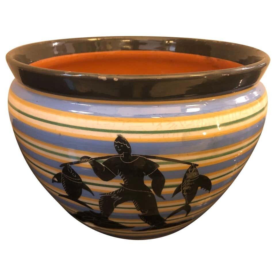 Bini e Carmignani Art Deco Ceramic Italian Vase, circa 1930
