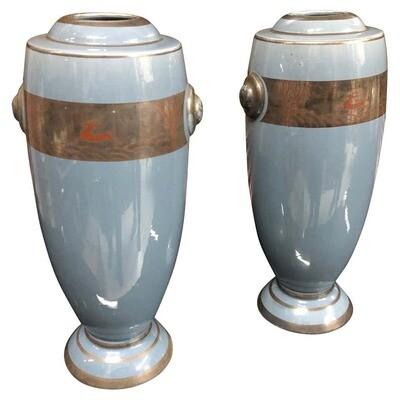 Set of Two Art Deco Ceramic Italian Vases, circa 1930