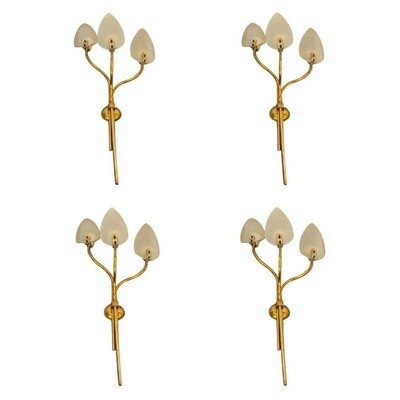 Pietro Chiesa Attributed Four Mid-Century Modern Huge Wall Sconces, circa 1950