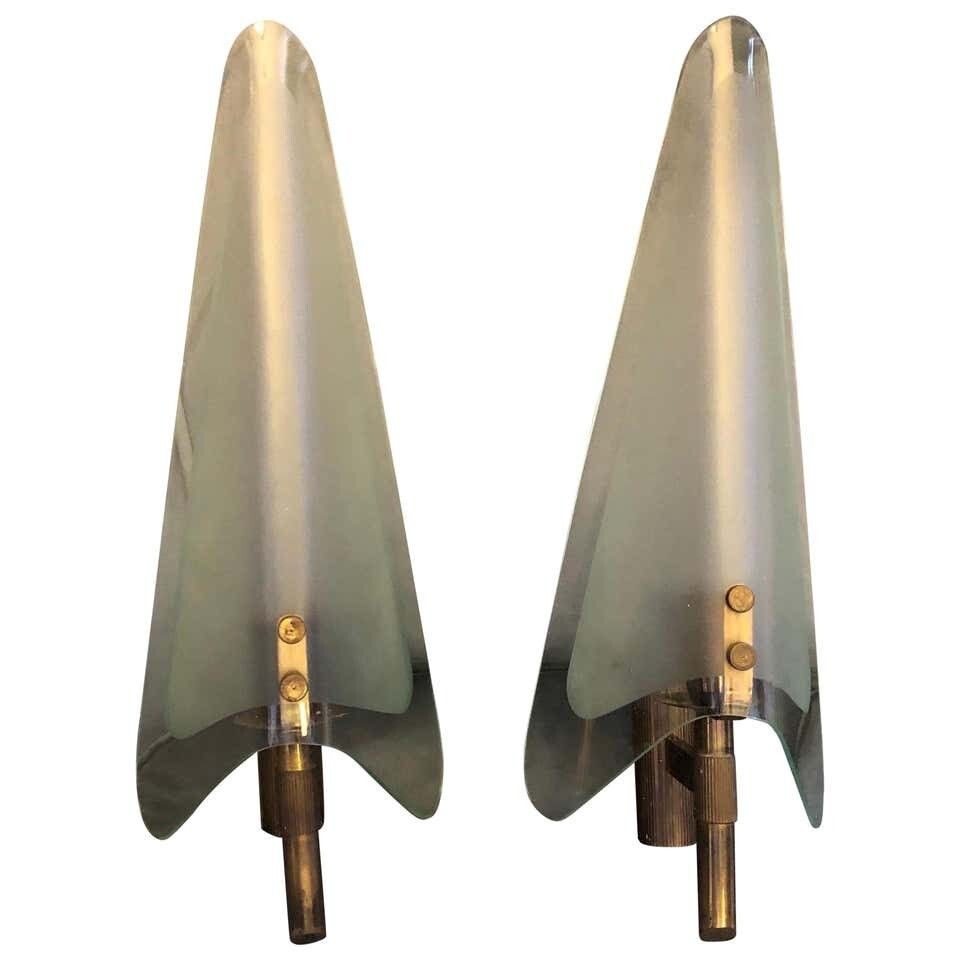 Two Mid-Century Modern Huge Wall Sconces in the Manner of Max Ingrand circa 1950