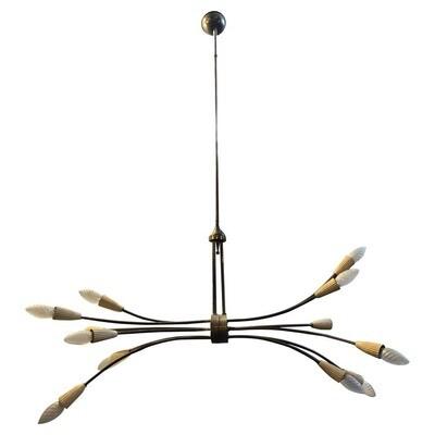 Stilnovo Style Mid-Century Modern Brass Italian Sputnik Chandelier, circa 1950