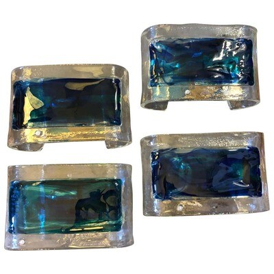 Four Mid-Century Modern Italian Murano Glass Wall Sconces by La Murrina c. 1970