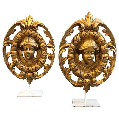 Two Art Nouveau Gilded Wooden Italian Fragments, circa 1900