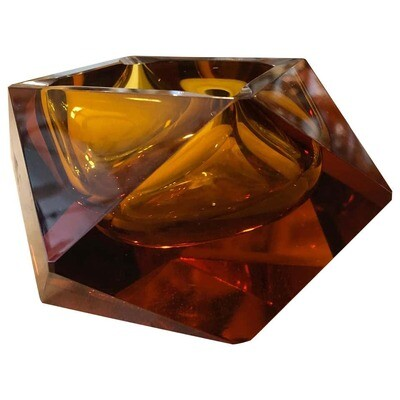 Mid-Century Modern Brown faceted Murano Glass Ashtray, circa 1970