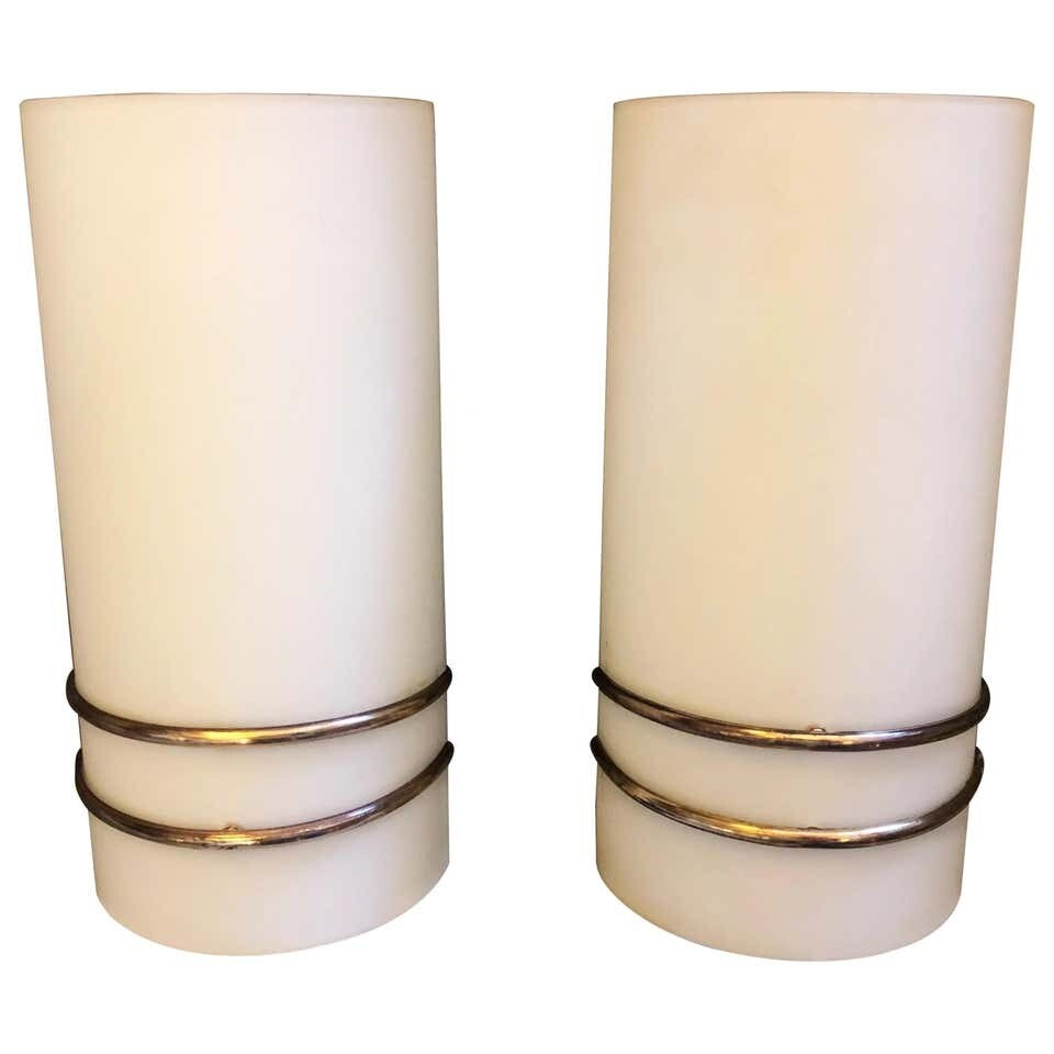 Set of Two Mid-Century Modern Brass and Glass Italian Wall Sconces, circa 1960