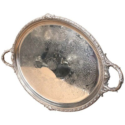 Victorian Engraved Silver Plated English Serving Tray, circa 1870