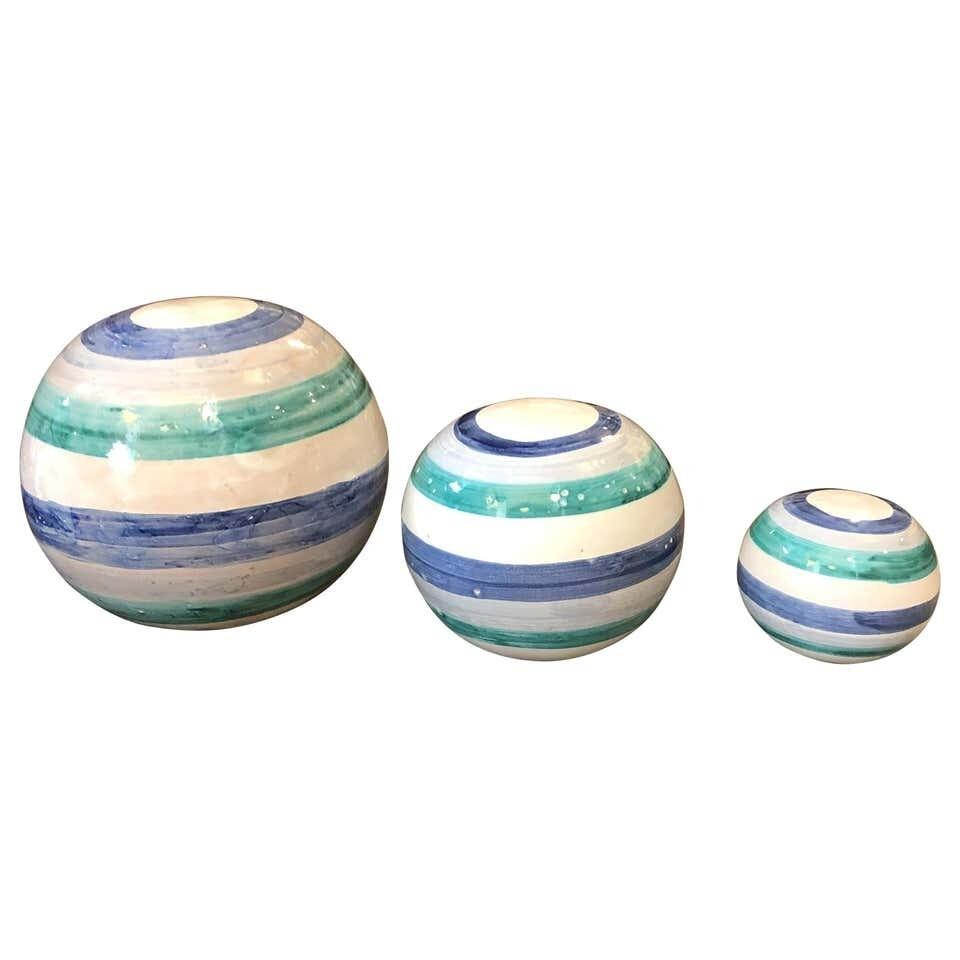Unique Pieces Hand Painted Sicilian Terracotta Decorative Spheres