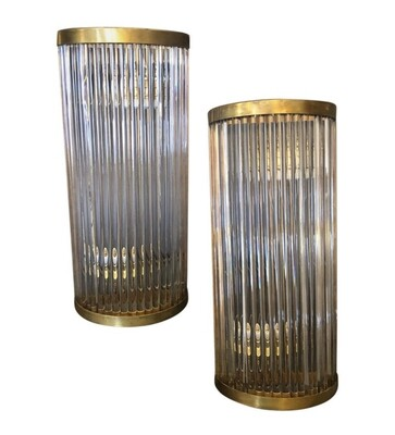 Four Mid-Century Modern Brass and Glass Italian Wall Sconces, circa 1970