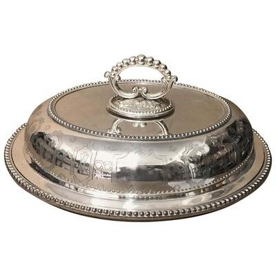 Victorian Engraved Silver Plated English Entree Dish, circa 1870