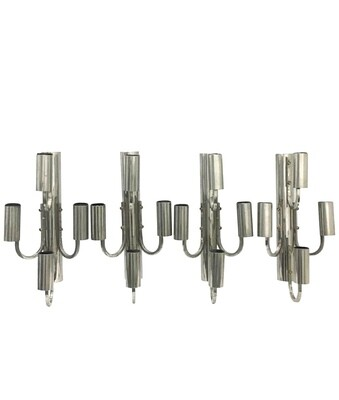 Space Age Italian Set of Four Large Chrome Four Lights Wall Sconces 1960