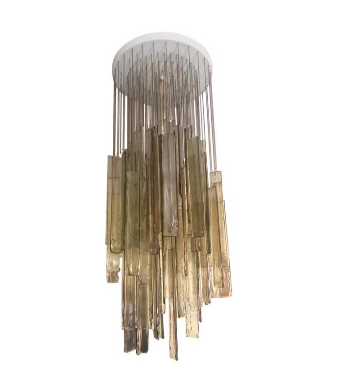 Mazzega Light Brown Murano Glass Cascading Chandelier, circa 1970