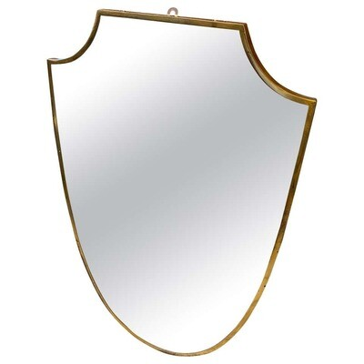 Mid-Century Modern Brass Shield Wall Mirror in the Manner of Gio Ponti