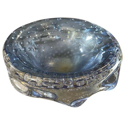 Mid-Century Modern Blue and Gold Murano Glass Ashtray circa 1960 by Seguso