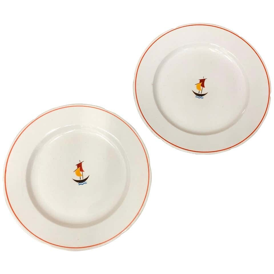 Two Art Deco Ceramic Plates Designed by Gio Ponti for Richard Ginori