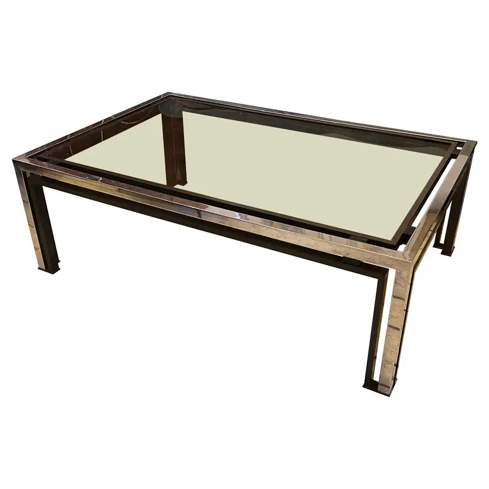 Romeo Rega Mid-Century Modern Chrome and Brass Coffee Table, circa 1970