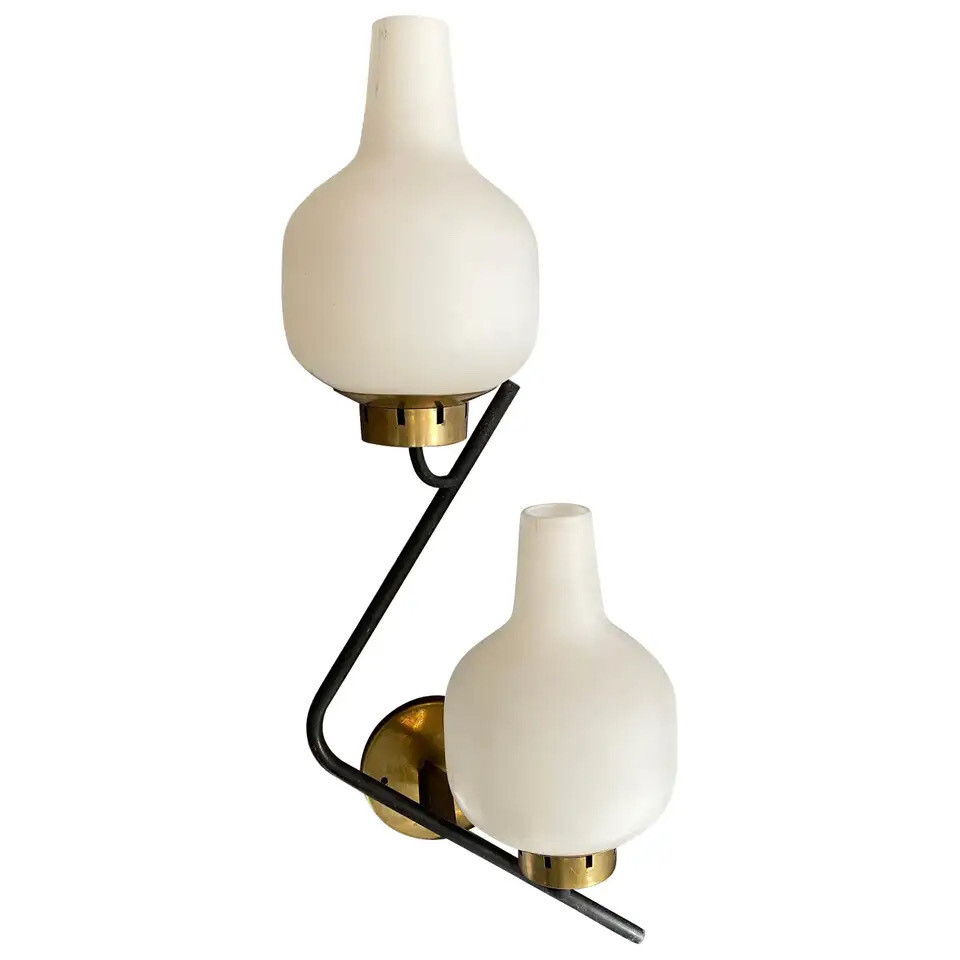 Set of two Stilnovo Mid-Century Modern Huge Wall Sconces, circa 1950