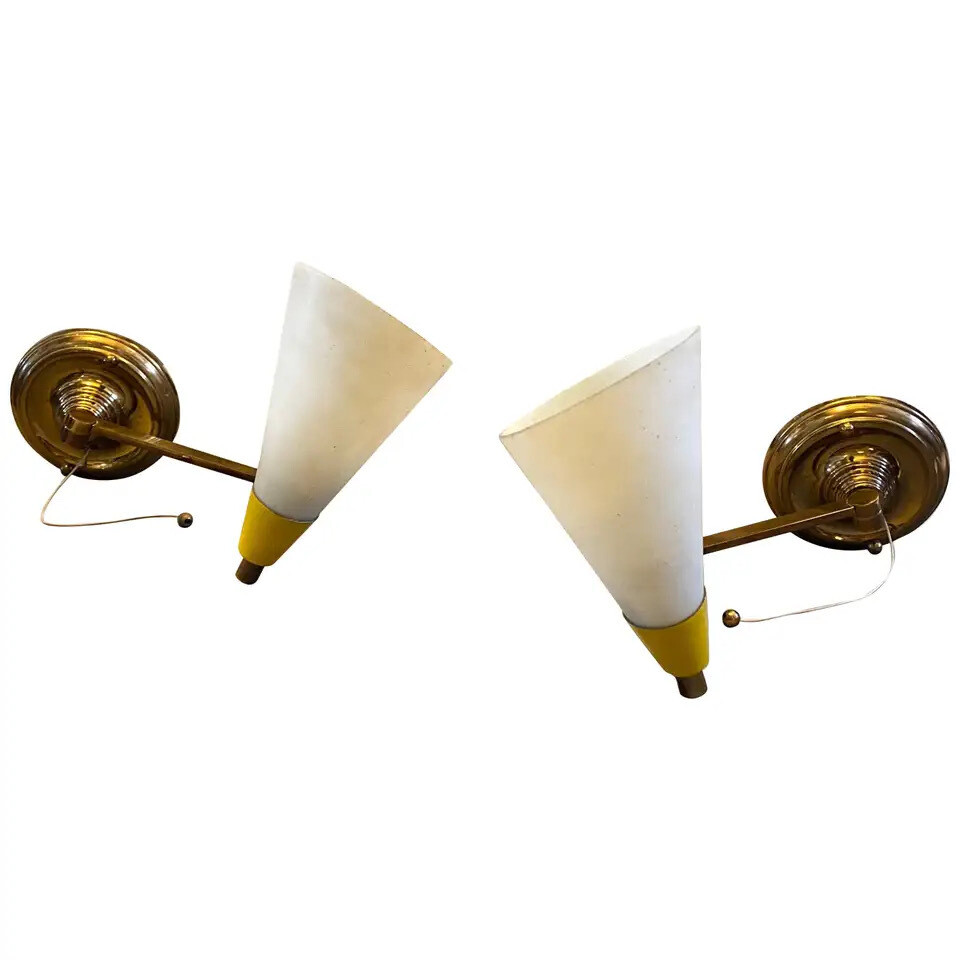 Set of two Mid-Century Modern Brass and Glass Foldable Wall Sconces, circa 1950