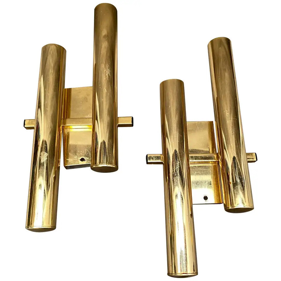 Set of Two Mid-Century Modern Brass Wall Sconces by Gaetano Sciolari, circa 1960