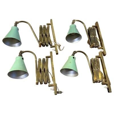 Mid-Century Modern Extendable Brass Italian Wall Sconces, 1950s