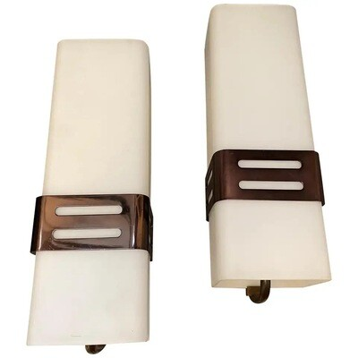 Set of Two Stilnovo Mid-Century Modern Copper and Glass Wall Sconces, 1960s