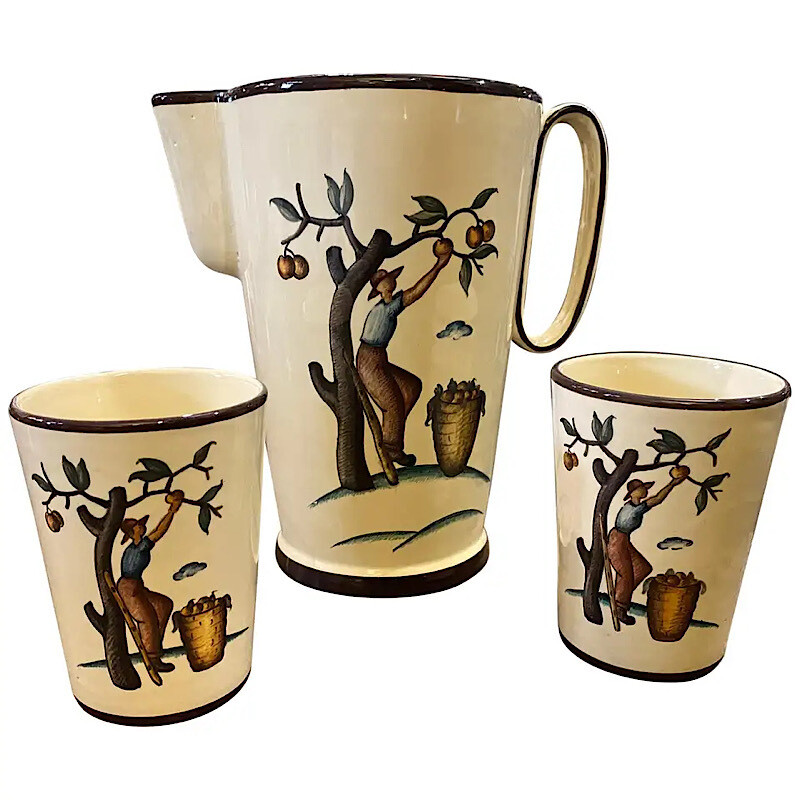 1947 Hand Painted Ceramic Sicilian Jug and Two Glasses Designed by Giò Ponti