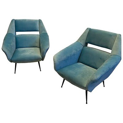 1960s Set of Two Mid-Century Modern Armchairs Attributed to Gigi Radice