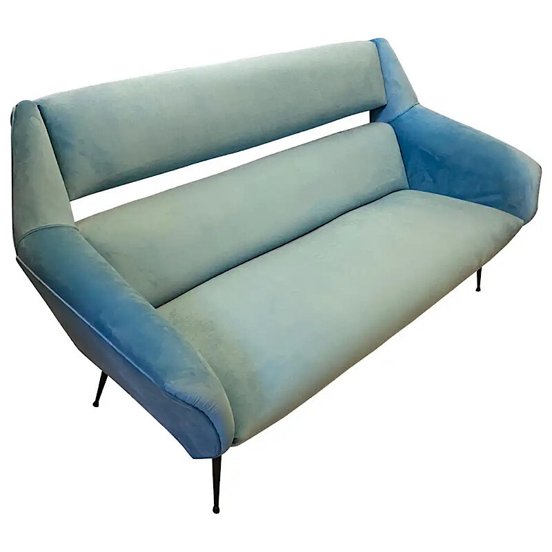 A Mid-Century Modern Blue Velvet and Metal Sofa attributed to Gigi Radice