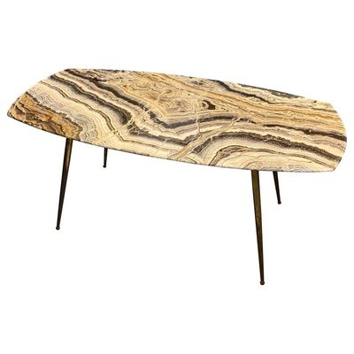 1950s Mid-Century Modern Marble and Brass Italian Coffee Table