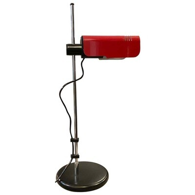 1970s Space Age Red and Black Targetti Desk Lamp