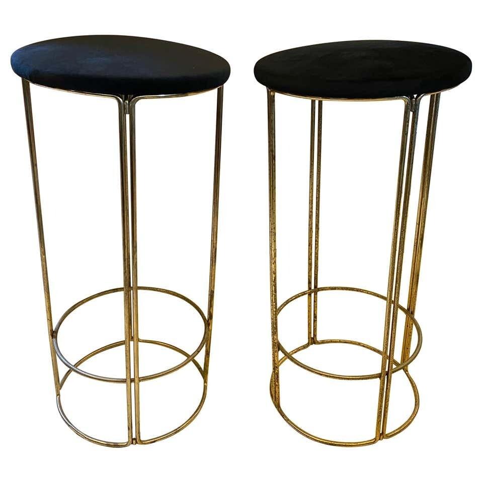 1970s Set of Two Mid-Century Modern Brass and Black Velvet Italian Bar Stools