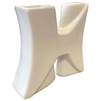 Memphis Style White Ceramic Vase by Roberto Rigon, circa 1980