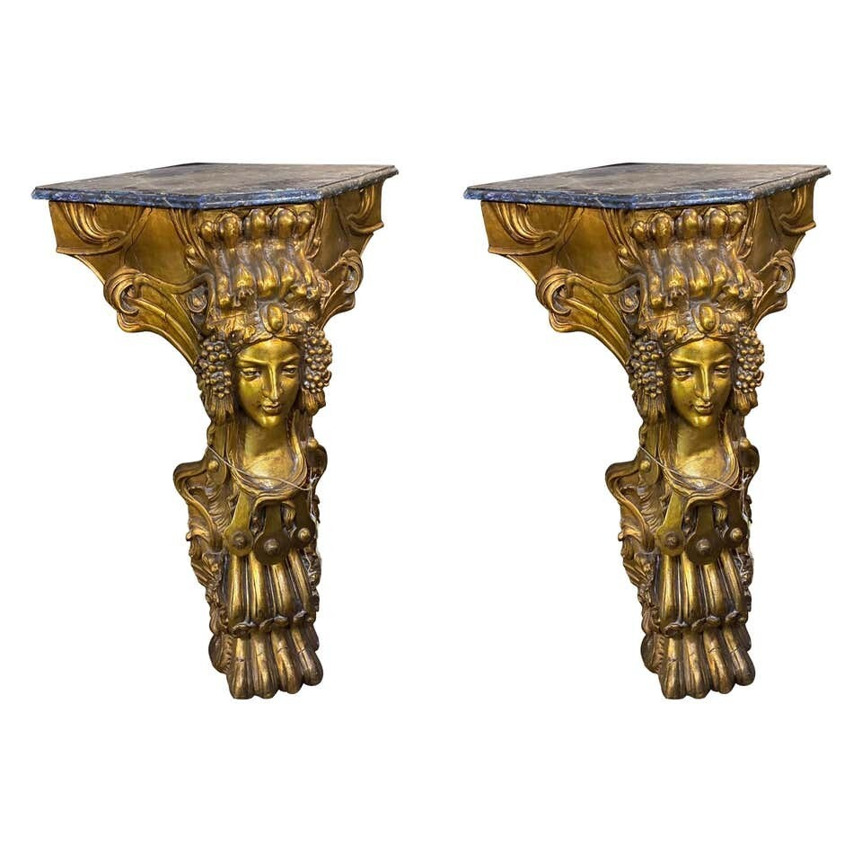 1900s Pair of Art Nouveau Hand Carved Gilded Wood Italian Corner Consoles
