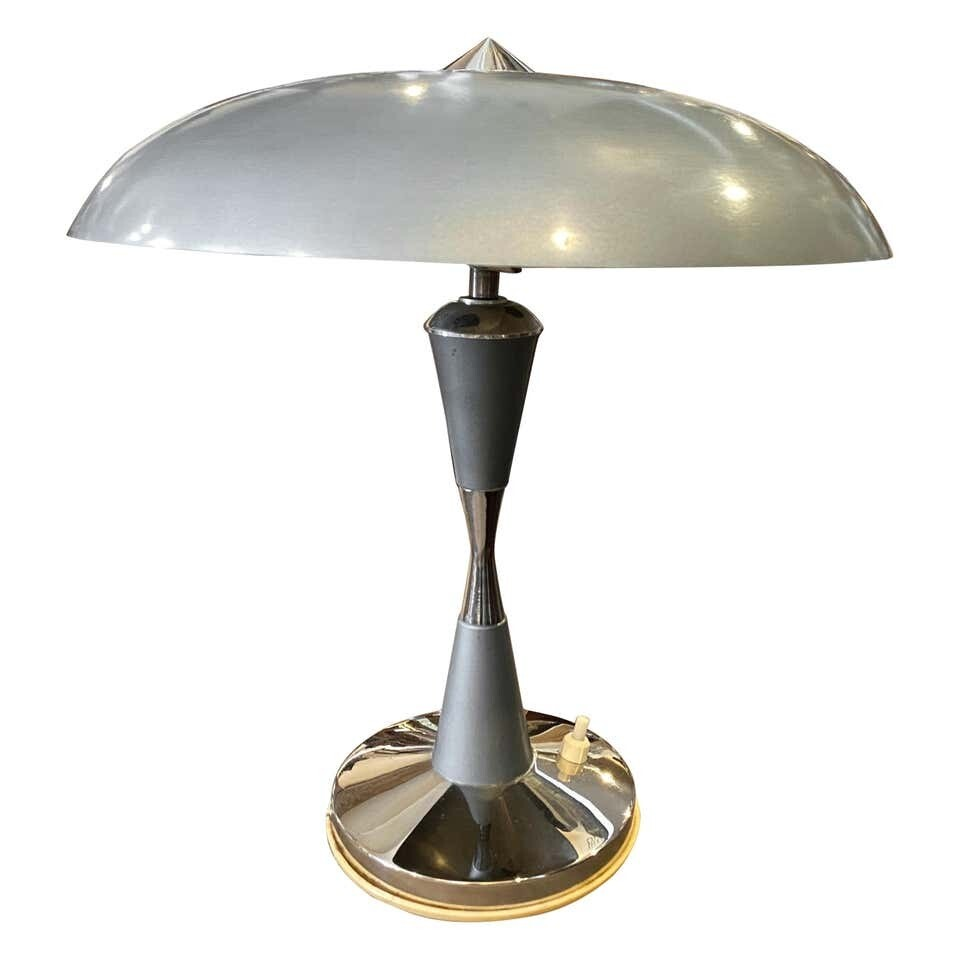 1930s Art Deco Light Blue Painted Metal Italian Table Lamp