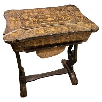 1850s Hand Painted Chinoiserie on Wood English Sewing Table