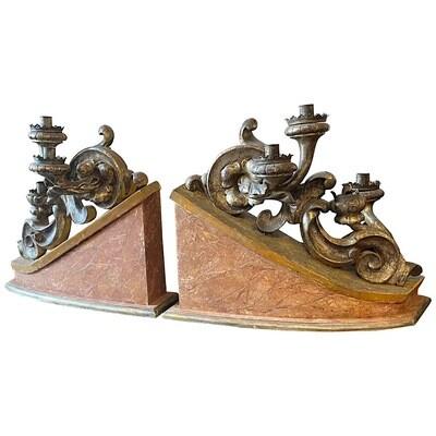 19th Century Pair of Antique Wood Italian Candelabras