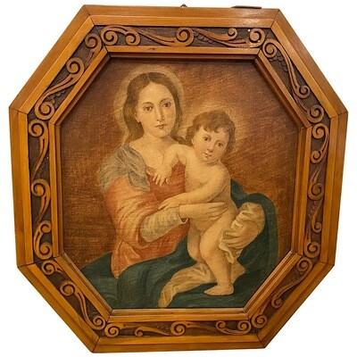 Art Nouveau Octagonal Framed Oil on Canvas Depicting a Madonna with Jesus Child